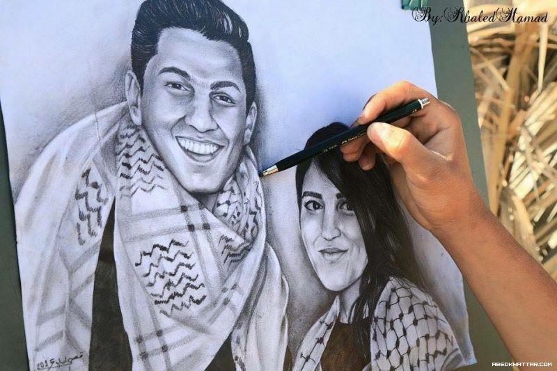بالصور .. رسام فلسطيني يرسم لوحة للفنان محمد عساف والفنانة ميرنا عيسى