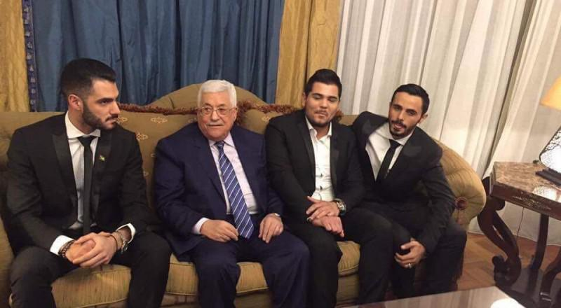 محمود عباس يلتقي مشتركي اراب آيدول