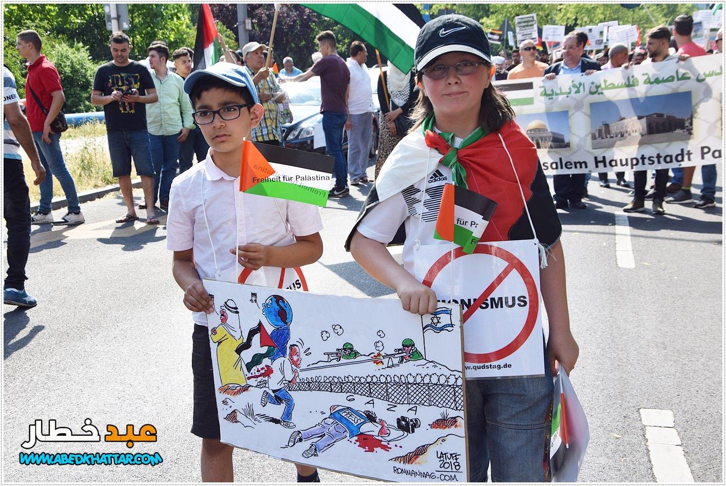 احياء يوم القدس العالمي في برلين مقابل مظاهرة تأييد لإسرائيل لعام 2018