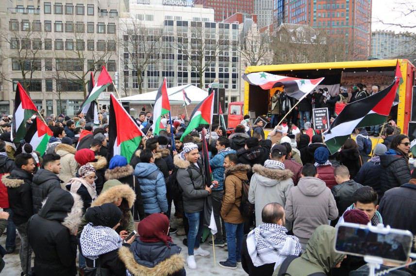 تظاهرة بشيكاغو الأمريكية نصرة لمسيرات غزة ورفضا للعدو