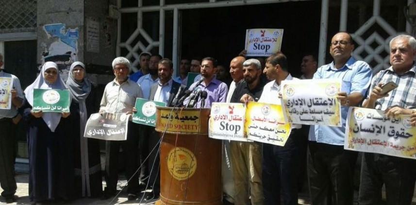 وقفة تضامنية بغزة دعمًا للأسرى الإداريين والمضربين عن الطعام