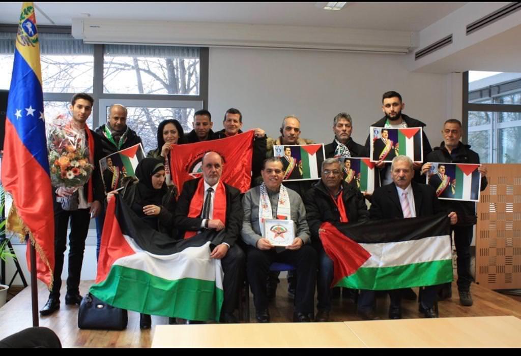 وفد من أنصار الجبهة الديمقراطية لتحرير فلسطين في برلين بزيارة تضامنية إلى سفارة فنزويلا البوليڤارية في برلين