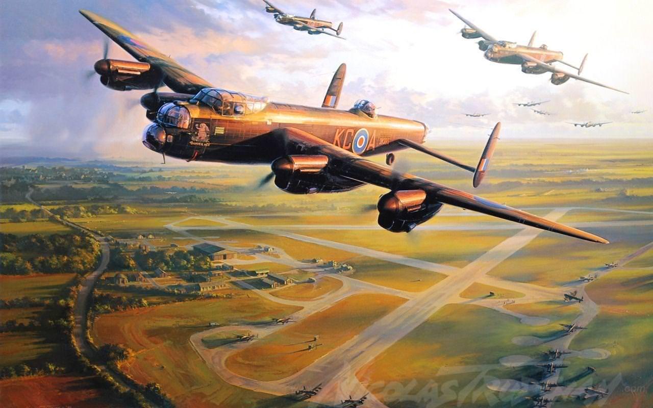 لوحة زيتية تجسد عددا من طائرات أفرو لانكستر