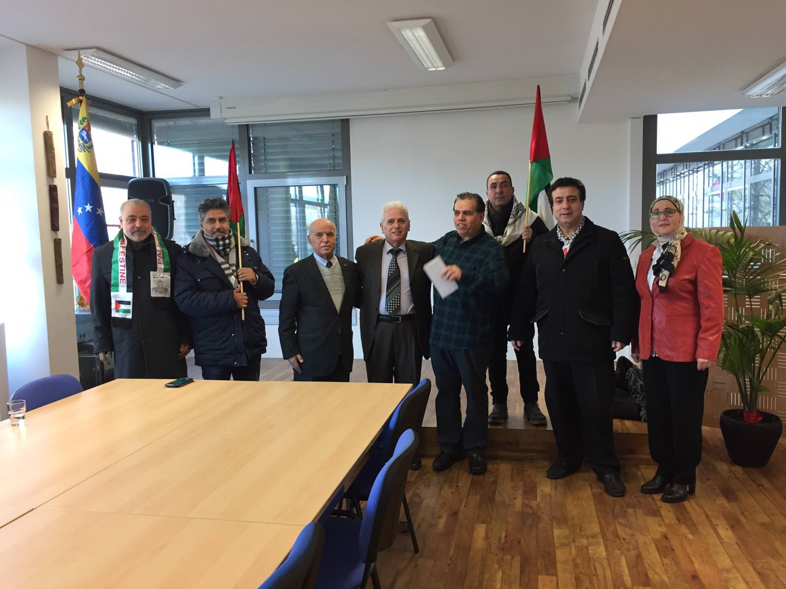 وفد من هيئة المؤسسات والجمعيات الفلسطينية والعربية في برلين بزيارة السّفارة الفنزويلية في المانيا