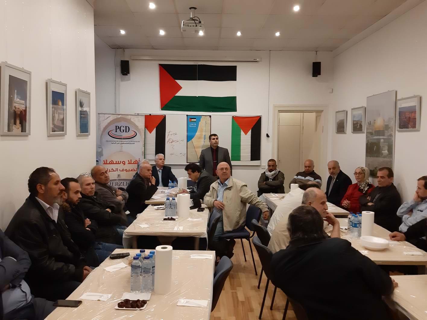 على هامش الإفطار الجماعي الّذي أقامه التجمع الفلسطيني في ألمانيا في مقرّه في برلين