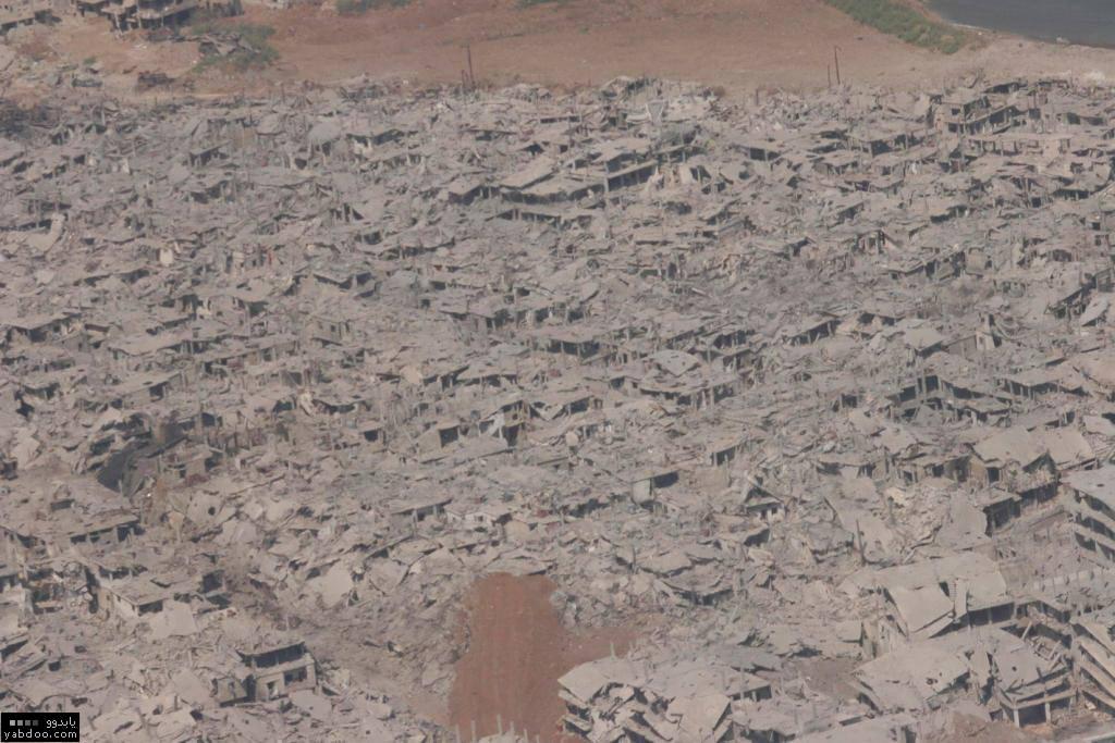 صور جوية من اثار الدمار في مخيم نهر البارد شمال لبنان