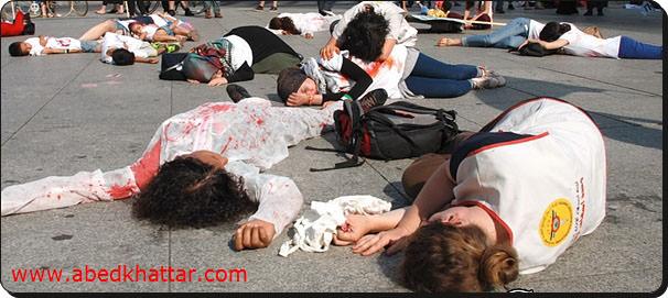 اتحاد طلاب فلسطين يدعمون غزة بمشهد تمثيلي في برلين