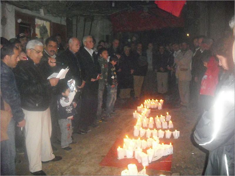 إضاءة شموع في البداوي تحت عنوان الحرية للاسرى