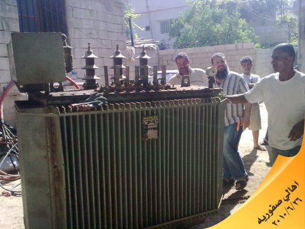 تمول شراء ترانس كهرباء جديد وتركيبه في حي صفوريه في مخيم عين الحلوة