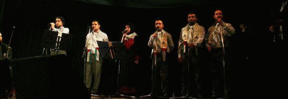 فرقة عشاق الأقصى تغني غزة في الجامعة الاميركيه