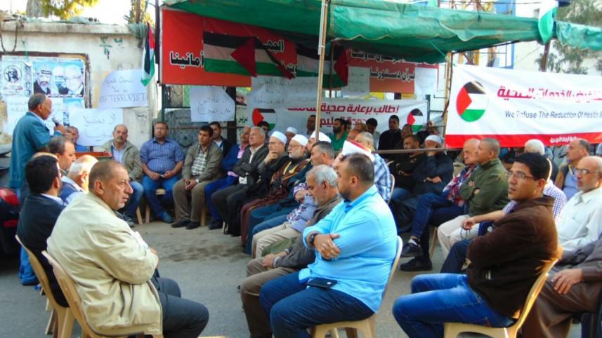 نصب خيمة اعتصام في مخيم البص رفضاً لتقليصات الأونروا