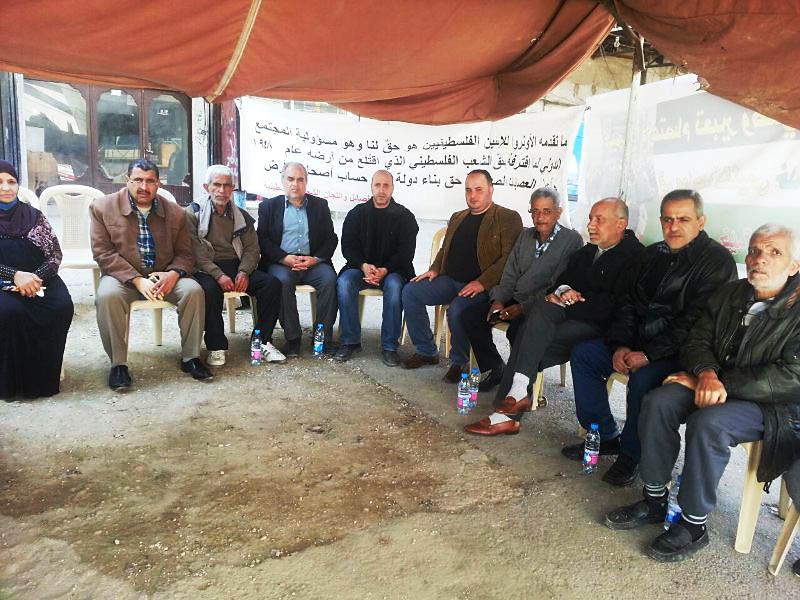 خيمة إعتصام في مخيم البداوي احتجاجا على تقليص الأونروا خدماتها
