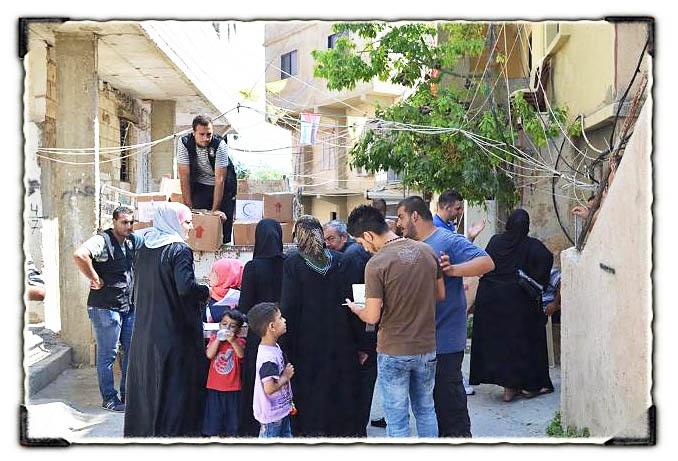 جمعية التضامن الاجتماعي نواة تقدم حصصاً غذائية للنازحين من سوريا
