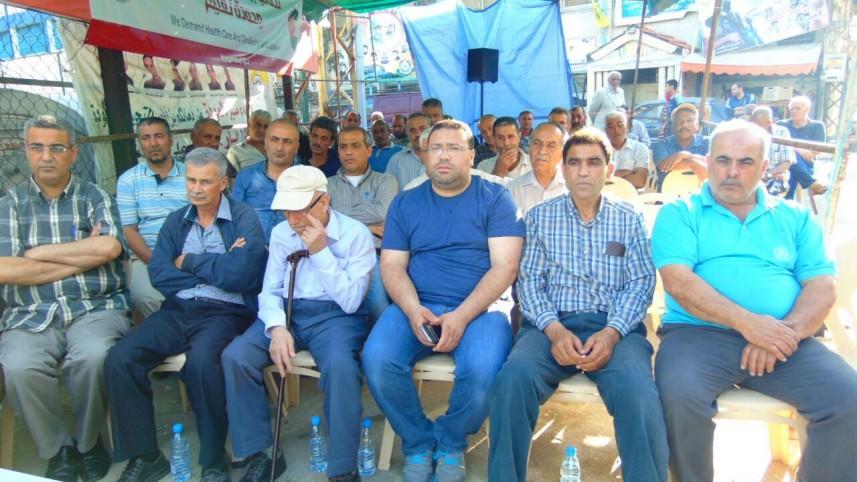 محاضرة عن تقليصات الأونروا في خيمة الاعتصام في مخيم البص