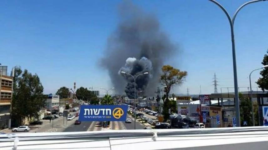 حريق في مطار بن غوريون باللد