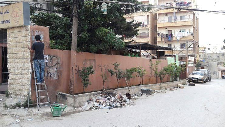 تشجير ودهان امام مقر النادي وحارة بنايات ابو نعيم