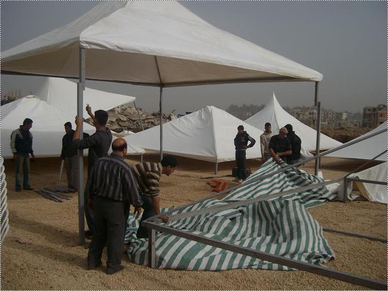 التحضيرات للاحتفال بوضع حجر الأساس لأعمار مخيم نهر البارد